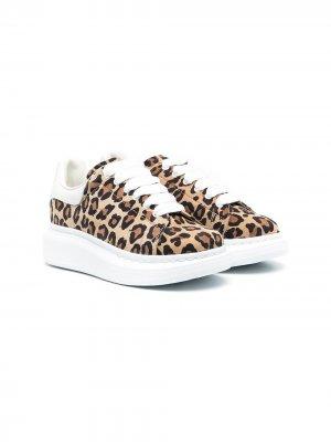 Кроссовки Oversized с леопардовым принтом Alexander McQueen Kids. Цвет: коричневый