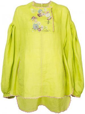Туника с вышивкой Natasha Zinko. Цвет: желтый