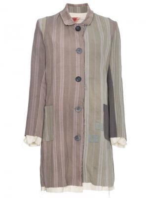 Пальто в полоску By Walid. Цвет: серый