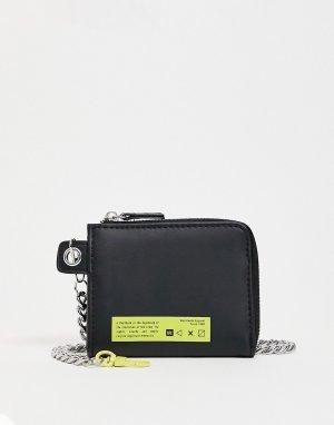 Черный бумажник -Черный цвет Bershka