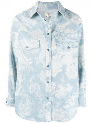 Джинсовая куртка с принтом пейсли Etro. Цвет: синий