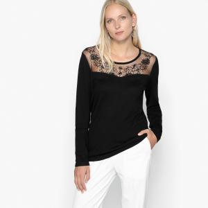 Пуловер с украшением и вставкой из сетчатого материала вышивкой ANNE WEYBURN. Цвет: черный,экрю