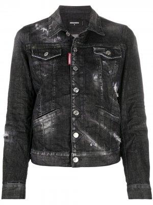 Джинсовая куртка с эффектом потертости Dsquared2. Цвет: черный