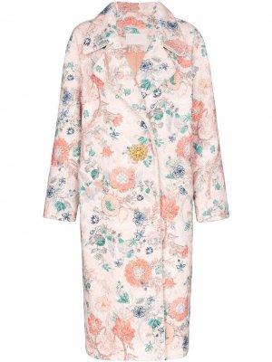 Пальто из букле с цветочным узором Peter Pilotto. Цвет: разноцветный