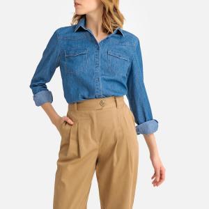 Рубашка из денима с длинными рукавами LA REDOUTE COLLECTIONS. Цвет: синий потертый