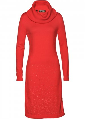 Платье вязаное bonprix. Цвет: красный