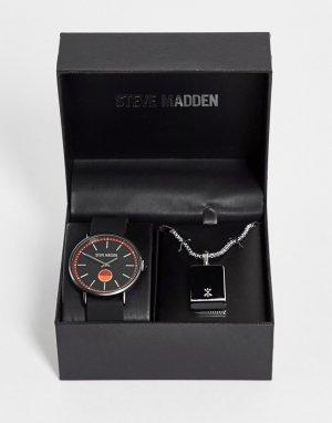 Подарочный набор из наручных часов черного и красного цветов серебристого ожерелья -Multi Steve Madden