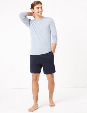 Трикотажные пижамные шорты (2 пары) M&S Collection. Цвет: морской синий/голубой