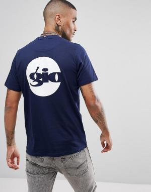 Темно-синяя футболка логотипом на спине Gio Goi. Цвет: темно-синий