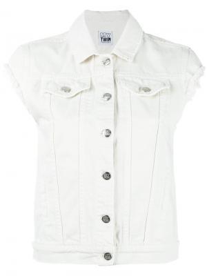 Джинсовая куртка без рукавов Twin-Set. Цвет: белый