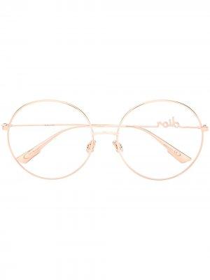 Очки DiorSignatureO2 в круглой оправе Dior Eyewear. Цвет: золотистый