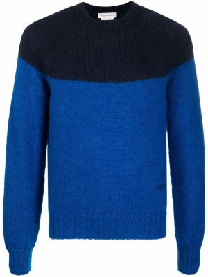 Two-tone knitted jumper Alexander McQueen. Цвет: синий