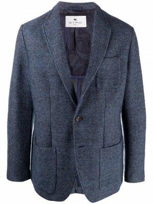 Однобортный пиджак ETRO. Цвет: синий