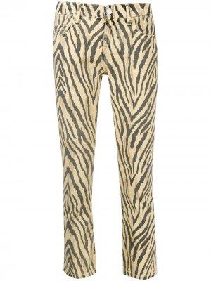 Укороченные брюки с зебровым принтом Current/Elliott. Цвет: желтый