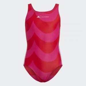 Слитный купальник Marimekko Laine Performance adidas. Цвет: красный