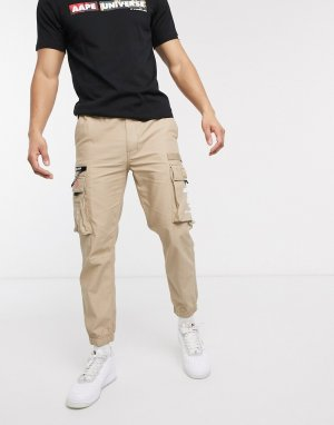 Бежевые брюки карго AAPE By A Bathing Ape-Светло-коричневый APE®