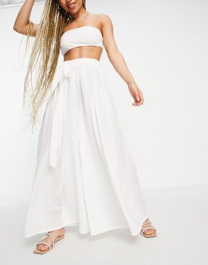 Шифоновые пляжные брюки белого цвета с поясом и широкими штанинами от комплекта -Белый ASOS DESIGN