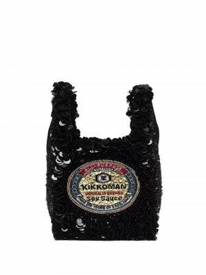 Сумка-тоут с пайетками Anya Hindmarch. Цвет: черный