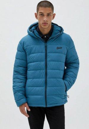 Куртка утепленная Pull&Bear. Цвет: голубой