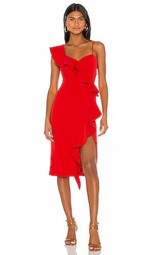 Платье миди destiny Bardot. Цвет: красный