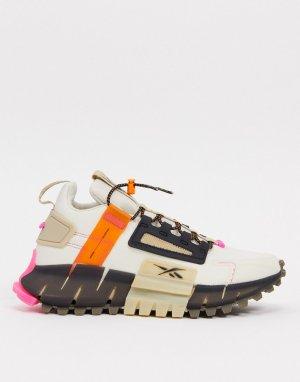 Светло-бежевые кроссовки Reebok Running Zig Kinetica edge-Белый