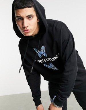 Черный худи в стиле oversized от комплекта с логотипом бабочками -Черный цвет ASOS Dark Future