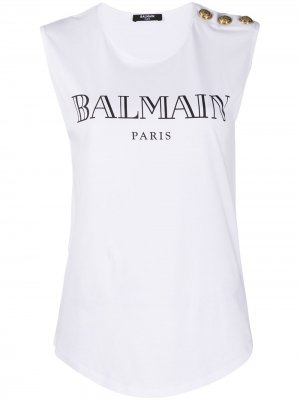 Топ без рукавов с логотипом Balmain. Цвет: белый