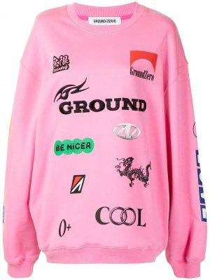 Толстовка оверсайз с узором Ground Zero. Цвет: розовый