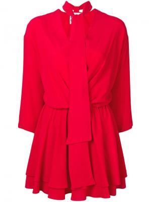 Короткое платье с завязкой на вороте 8pm. Цвет: красный