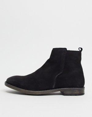Черные кожаные ботинки челси в строгом стиле -Черный цвет Dune