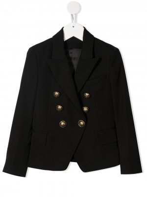 Двубортный пиджак Balmain Kids. Цвет: черный