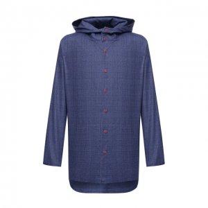 Шерстяная рубашка Kiton. Цвет: синий