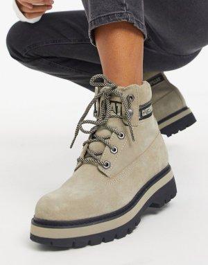 Светло-бежевые походные ботинки на платформе со шнуровкой CAT Mimicry-Бежевый Footwear