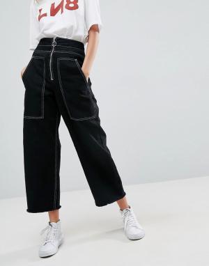 Черные широкие джинсы с большими карманами ASOS-Черный ASOS DESIGN