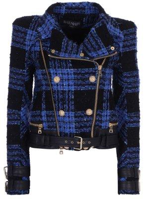 Куртка-косуха в клетку BALMAIN