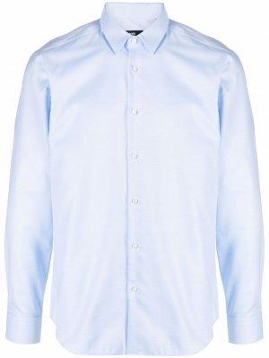 Рубашка с длинными рукавами BOSS. Цвет: синий