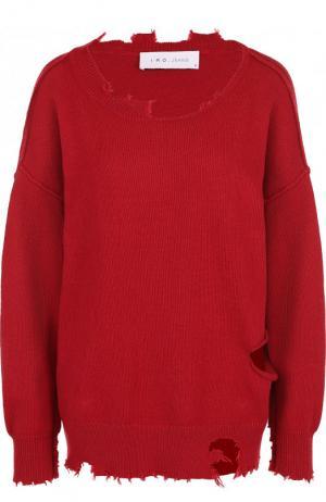 Пуловер свободного кроя из смеси хлопка и кашемира Iro. Цвет: красный