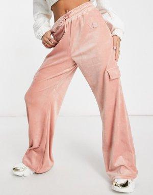 Розовые велюровые брюки-карго -Розовый Fila
