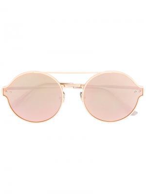 Солнцезащитные очки в оправе округлой формы Bottega Veneta Eyewear. Цвет: золотистый