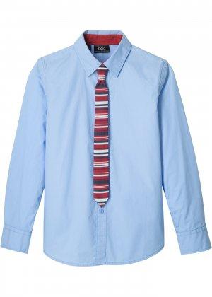 Рубашка Slim Fit и галстук (2 изд.) bonprix. Цвет: синий
