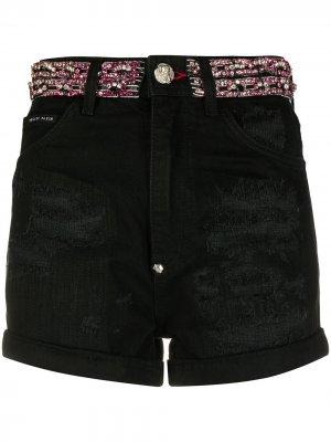 Джинсовые шорты с кристаллами Philipp Plein. Цвет: черный