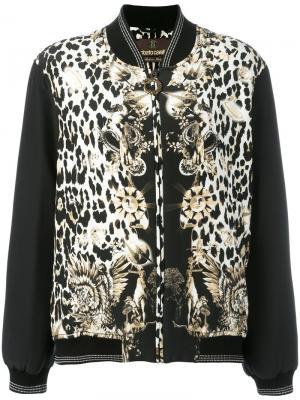 Куртка-бомбер с леопардовым принтом Roberto Cavalli. Цвет: чёрный