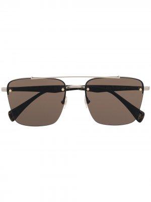 Солнцезащитные очки в квадратной оправе Yohji Yamamoto. Цвет: коричневый