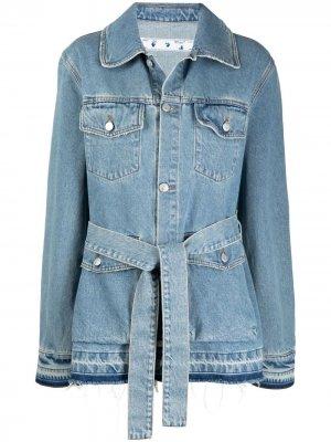 Джинсовая куртка оверсайз с поясом Off-White. Цвет: синий