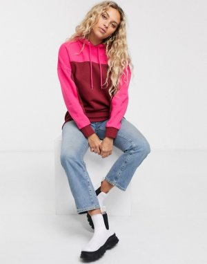 Розовый oversize-худи с цветными вставками Monki
