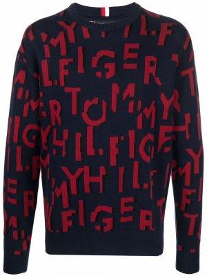 All-over logo knitted jumper Tommy Hilfiger. Цвет: синий