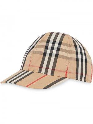 Бейсбольная кепка в клетку Vintage Check и полоску Icon Stripe Burberry Kids. Цвет: нейтральные цвета