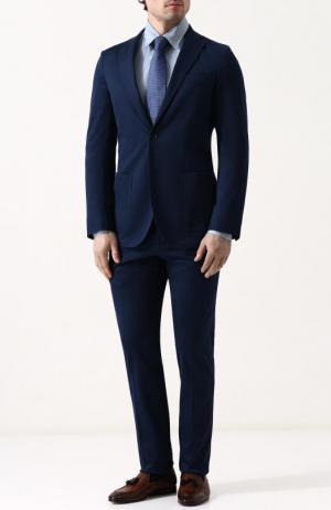 Хлопковый костюм с пиджаком на двух пуговицах Loro Piana. Цвет: темно-синий