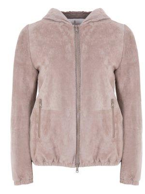 Куртка кожаная BRUNELLO CUCINELLI. Цвет: бежевый