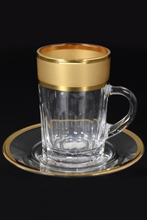 Чайная пара 110 мл, 6 пар Bohemia. Цвет: прозрачный, золотой